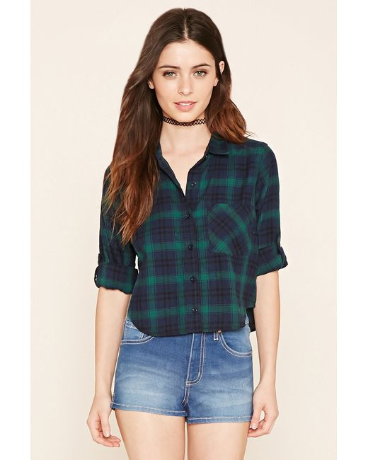 Forever 21 plaid flannel shirt in blue navy green lyst for Flannel shirts for womens forever 21
