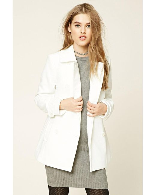 Forever 21 | White Double-breasted Pea Coat | Lyst