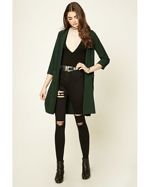 Forever 21 | Green Textured Open-front Duster Coat | Lyst