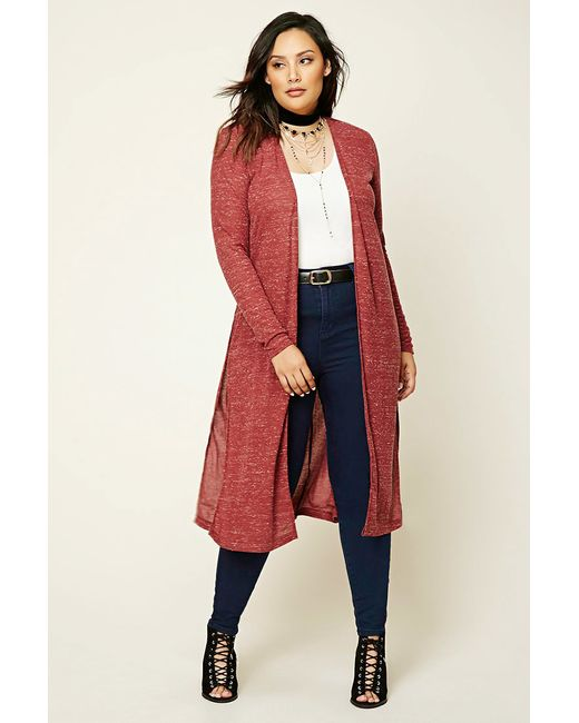 Forever 21 | Red Plus Size Marled Knit Cardigan | Lyst