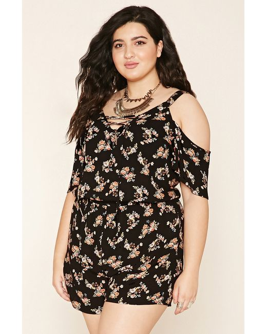 39224aa6aec Forever 21 Plus Size Floral Lace-up Romper in Black