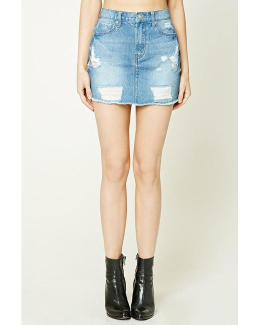 forever 21 distressed denim mini skirt in blue lyst