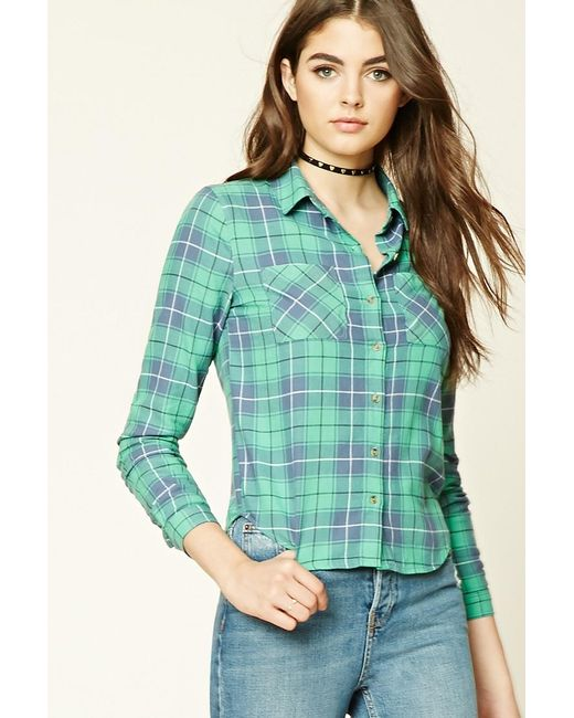 Forever 21 Flannel Plaid Button Down Shirt In Green Lyst