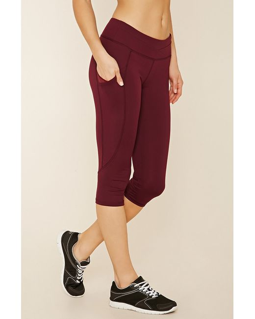 Forever 21 Active Capri Yoga Pants In Red