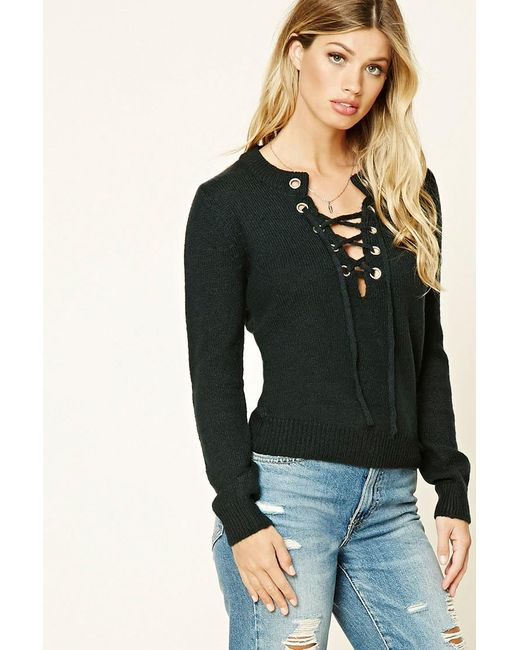 Forever 21 | Green Marled Knit Lace-up Sweater | Lyst