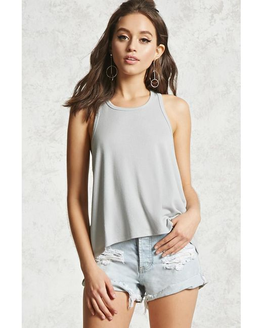 Forever 21 | Gray Ribbed Trapeze-hem Tank | Lyst