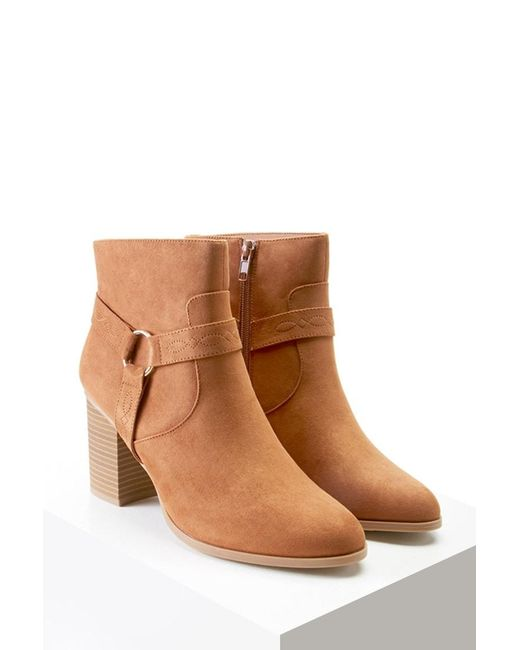 Forever 21   Brown Embroidered Faux Suede Boots   Lyst