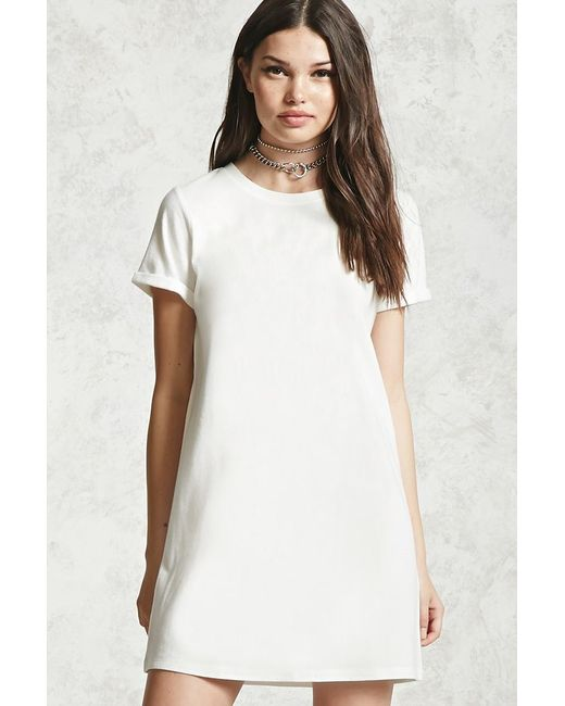 Forever 21 Sleeve Dress: Forever 21 Cuffed Sleeve T-shirt Dress In White