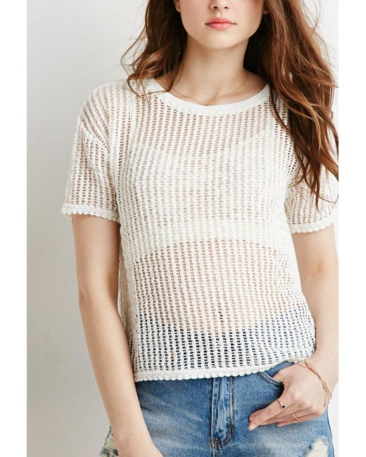 Forever 21   White Boxy Open-knit Top   Lyst