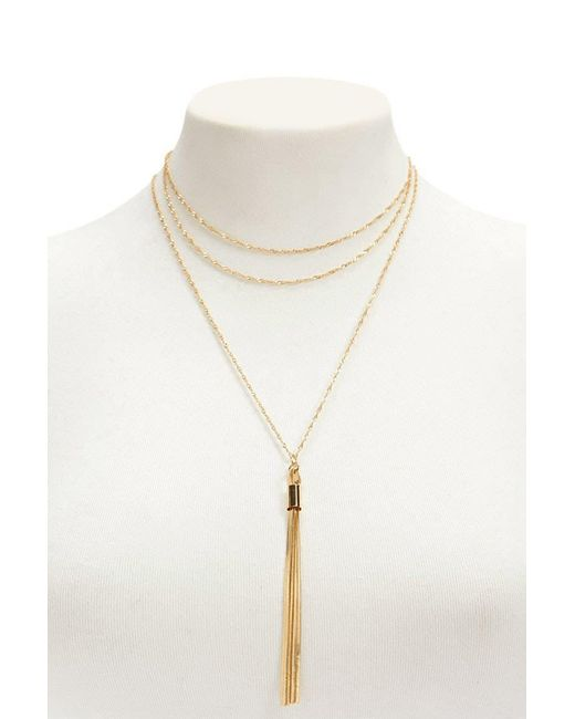 Forever 21 - Metallic Tassel Necklace Set - Lyst