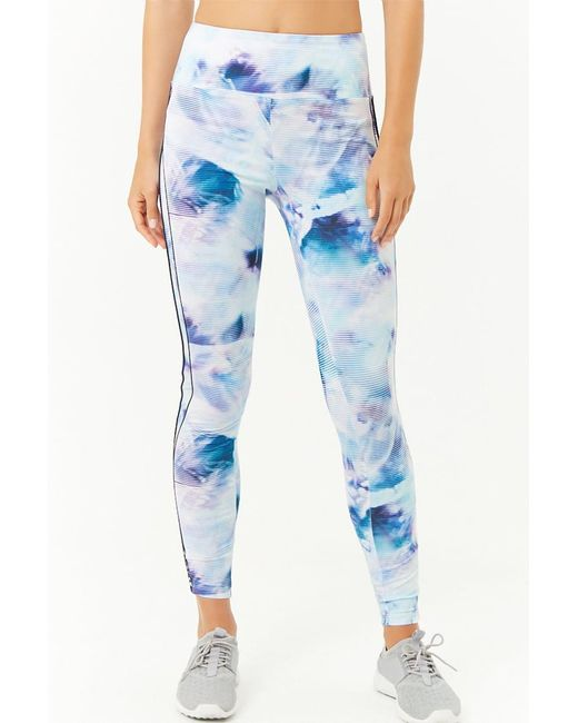 2aad4f0f24 ... Forever 21 - Blue Active Striped Tie-dye Leggings - Lyst