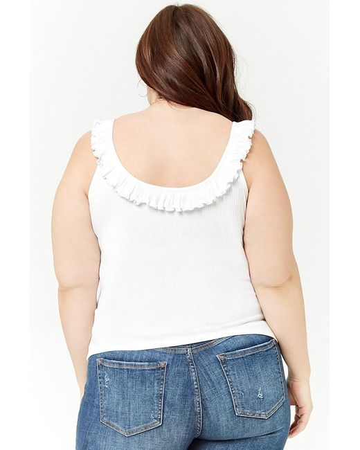 724db2e97b433 ... Forever 21 - White Plus Size Ruffled Ribbed Knit Top - Lyst ...