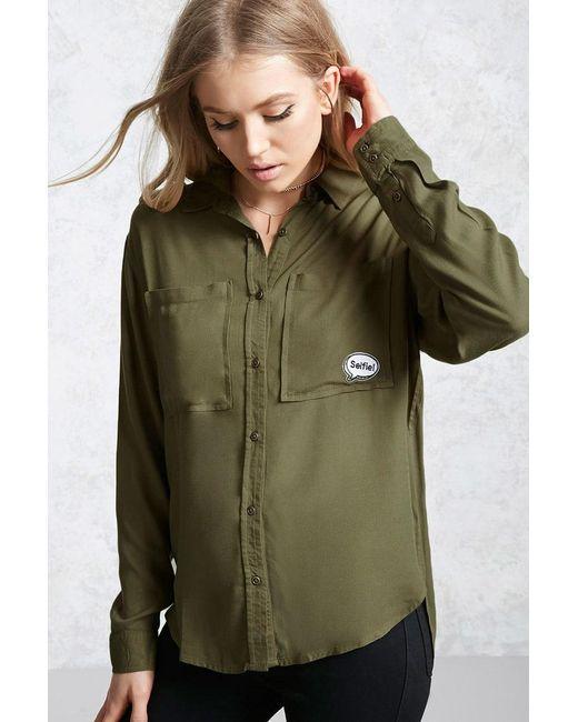 Forever 21 - Green Women's Selfie Patch Pocket Shirt - Lyst