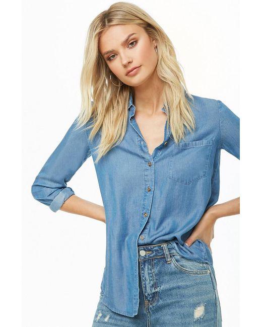 Forever 21 - Blue Chambray Pocket Shirt - Lyst