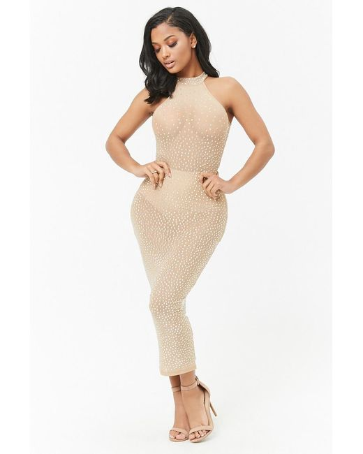 Forever 21 - Natural Studded Maxi Dress - Lyst
