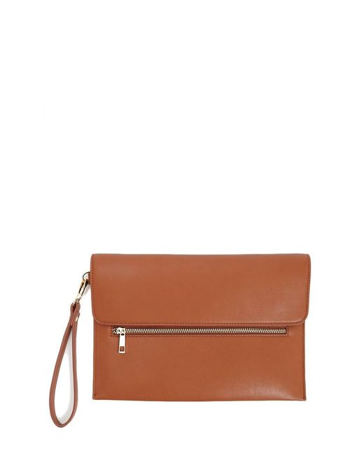 Forever 21 - Brown Faux Leather Pouch Clutch - Lyst
