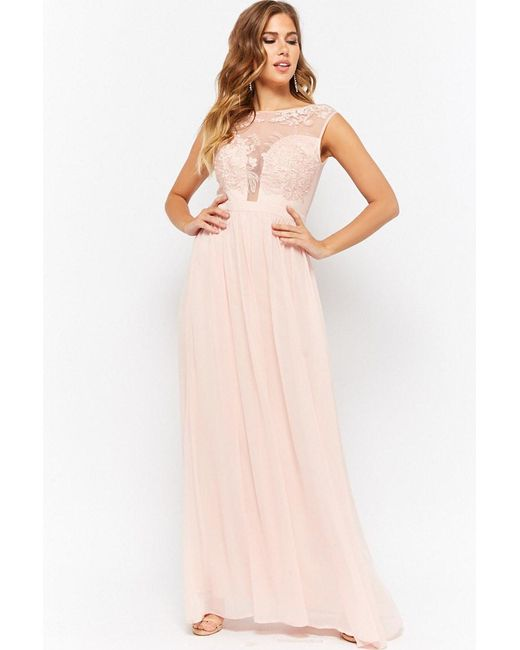 Forever 21 - Pink Soieblu Sheer Mesh Floral Embroidered Chiffon Maxi Dress - Lyst