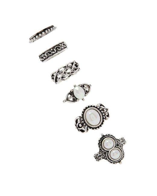 Forever 21 | Metallic Faux Gem Stackable Ring Set | Lyst