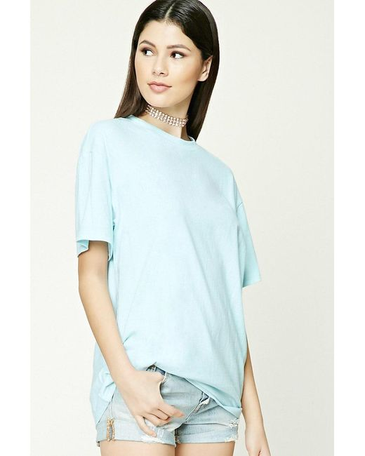 Forever 21 | Blue Oversized Cotton Tee | Lyst
