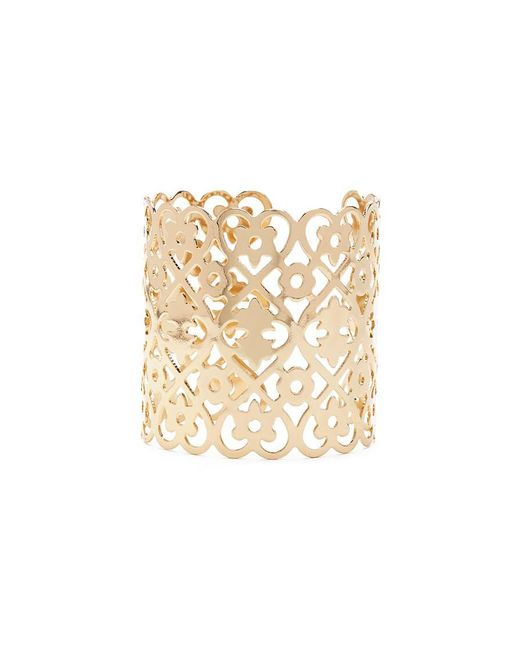 Forever 21 | Metallic Heart & Flower Cutout Cuff Bracelet | Lyst