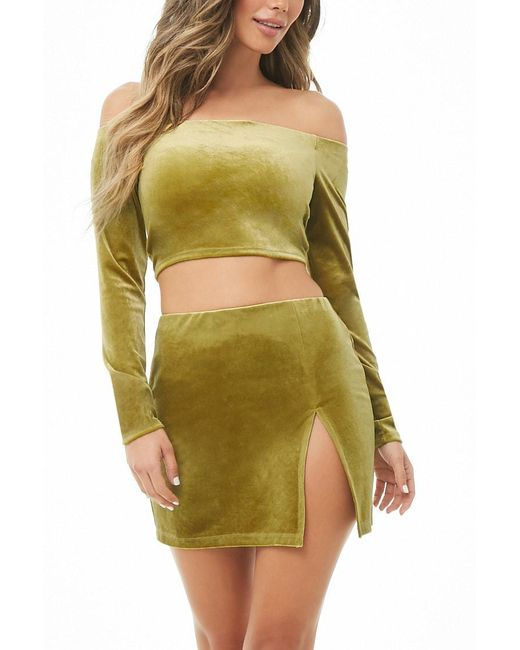 Forever 21 - Green Velvet Mini Skirt - Lyst