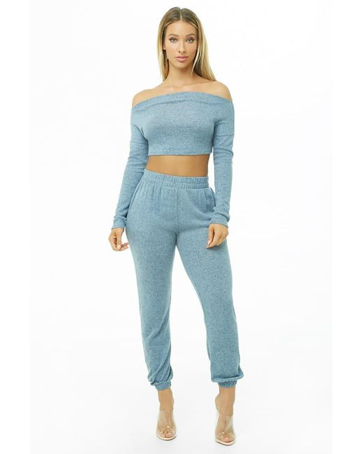 Forever 21 - Blue Marled Crop Top & Pants Set - Lyst