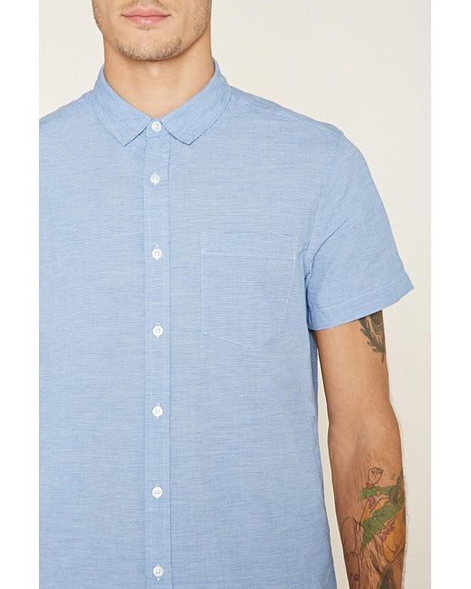 Forever 21 | Blue Two-tone Pocket Shirt for Men | Lyst