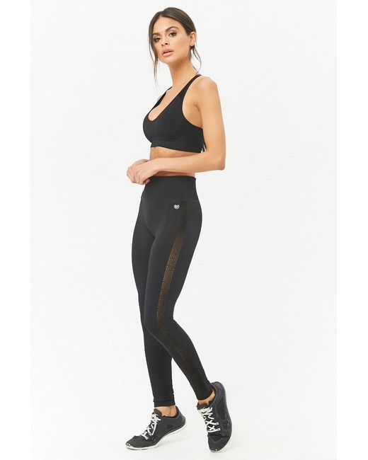 Forever 21 - Black Active Mesh Knit Leggings - Lyst