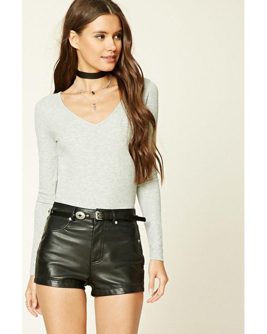 Lyst Forever 21 Scooped Ribbed Knit Top In Gray