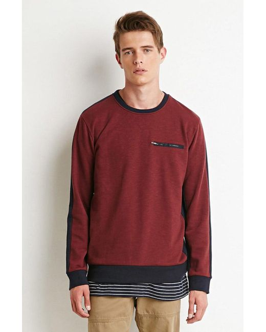 Forever 21 | Purple Colorblocked Zip-pocket Sweatshirt | Lyst