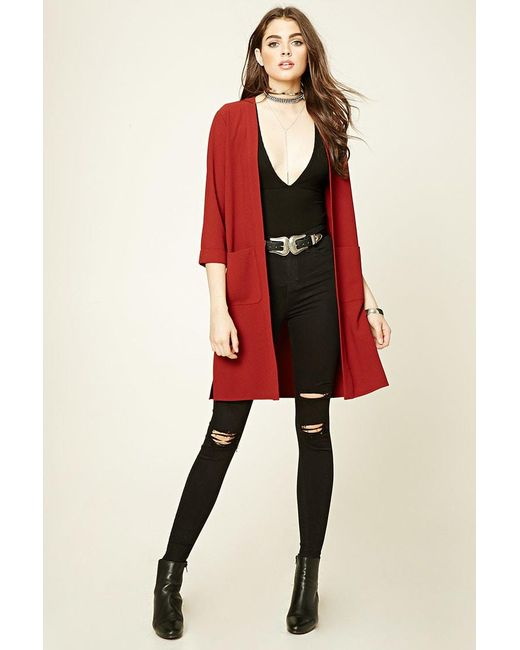 Forever 21 | Textured Open-front Duster Coat | Lyst