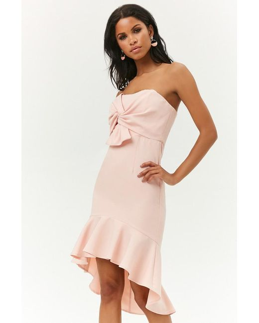 102ff4286d5 Forever 21 - Pink Women s Twist-front Tube Dress - Lyst ...
