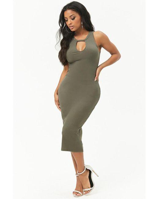 Forever 21 - Green Women's Bodycon Cutout Midi Dress - Lyst