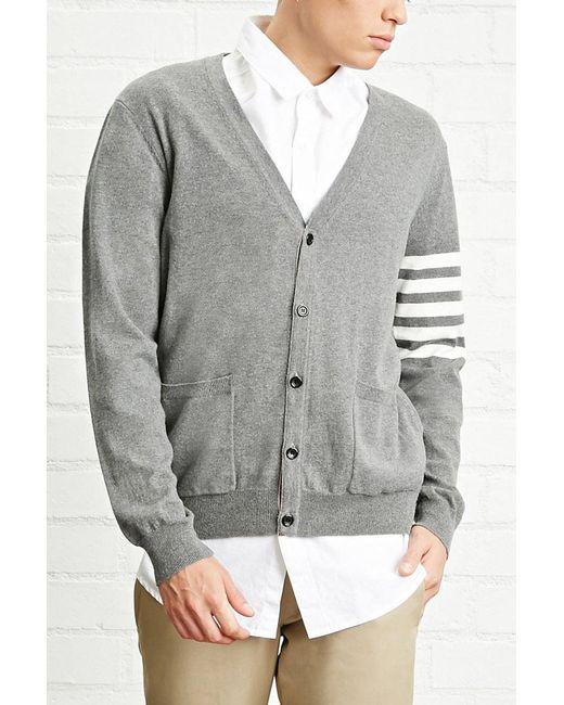Forever 21 - Gray 's Stripe-sleeve Cardigan Sweater for Men - Lyst
