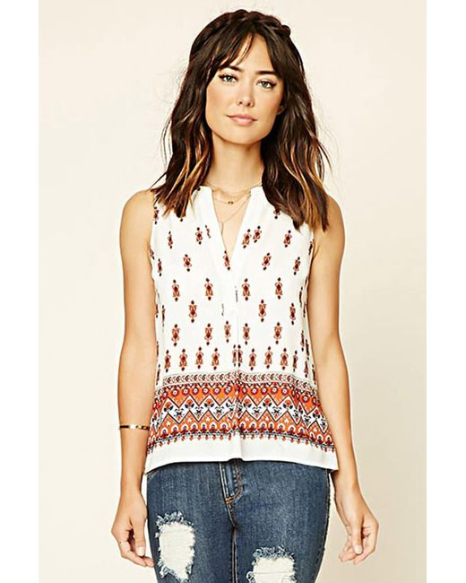 Forever 21 | Natural Ornate Print Woven Top | Lyst