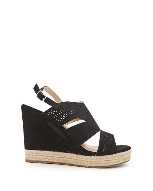 cff4824c60d Forever 21 - Black Faux Suede Espadrille Wedges - Lyst ...