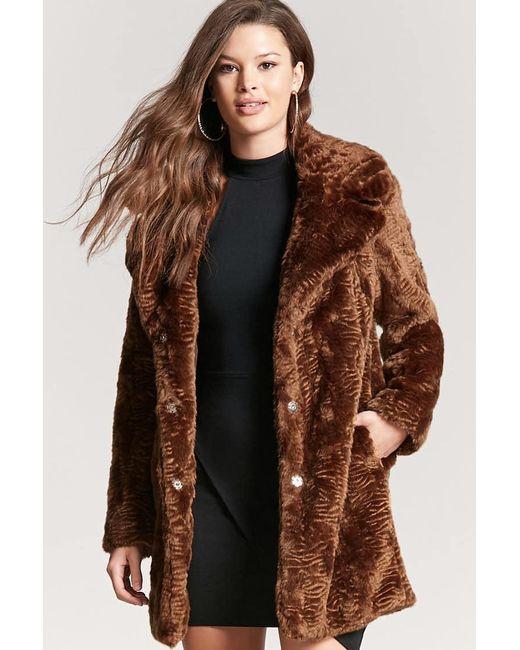 Forever 21 | Brown Longline Faux-fur Coat | Lyst