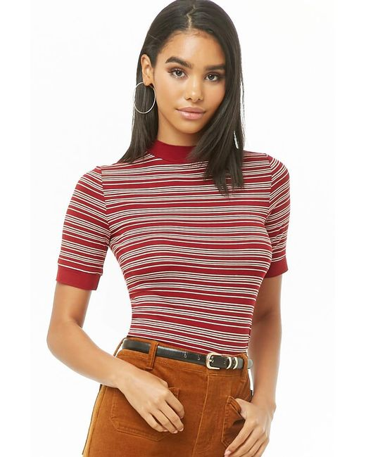 Forever 21 - Red Striped Mock-neck Top - Lyst