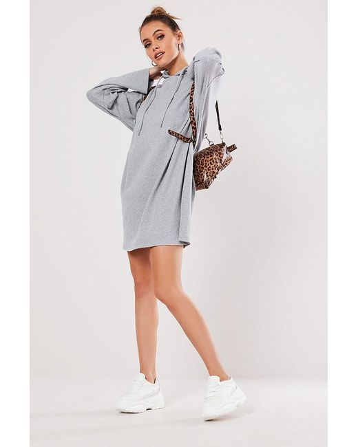 Missguided - Gray Ribbed Hoodie Dress At - Lyst