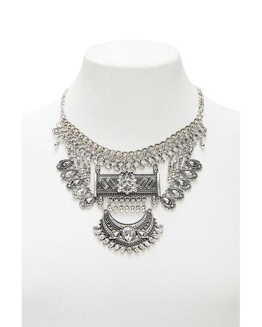 Forever 21 - Metallic Boho -inspired Rhinestone Statement Necklace - Lyst