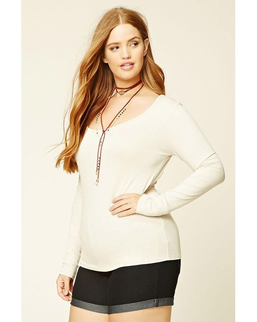 Forever 21 | Natural Plus Size Ribbed Knit Top | Lyst