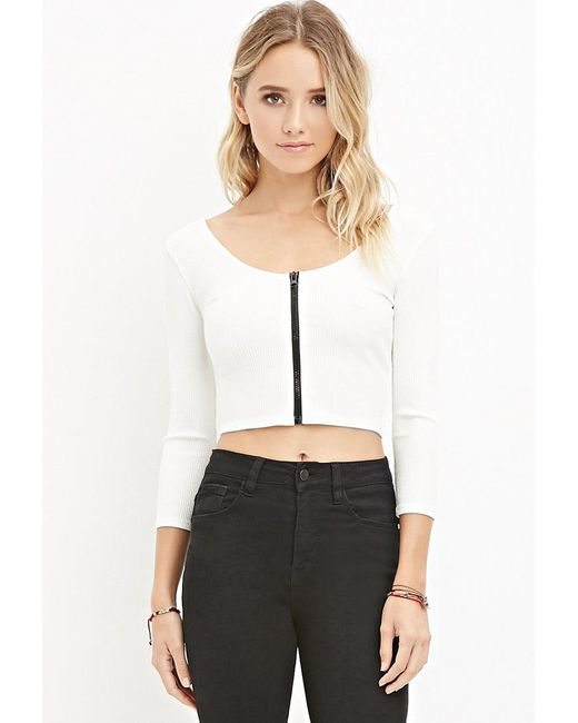 Forever 21 | White Zippered Crop Top | Lyst