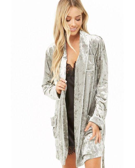 Forever 21 Gray Crushed Velvet Robe , Grey