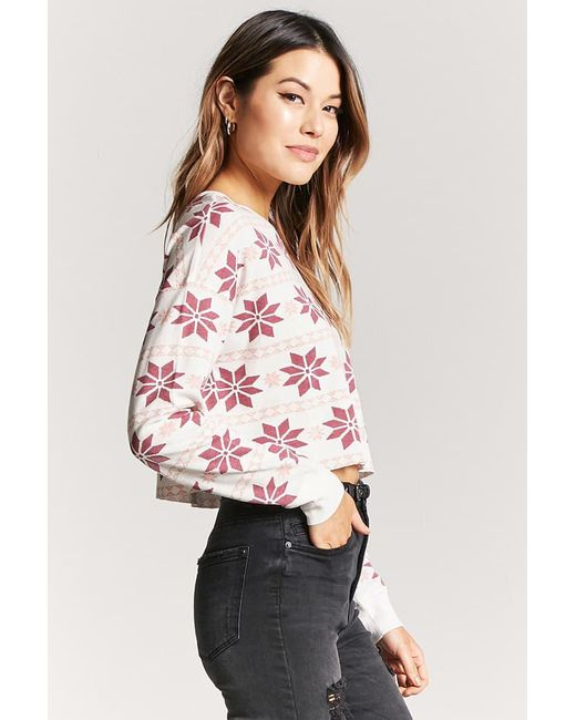 Lyst - Forever 21 Fair Isle Print Waffle Top in Pink
