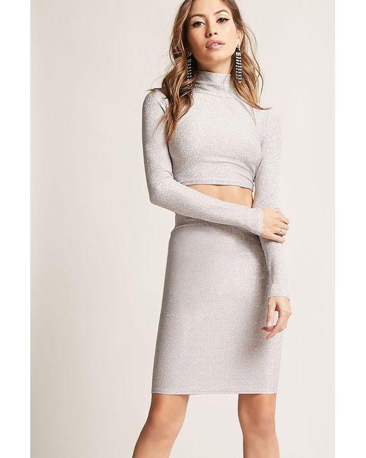 Forever 21 - Gray Metallic Bodycon Skirt - Lyst
