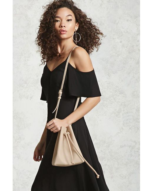 Forever 21 | Natural Crossbody Pebbled Bucket Bag | Lyst
