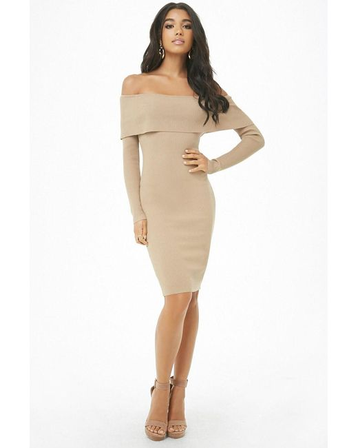 a6878abbc48 Forever 21 - Natural Women s Foldover Off-the-shoulder Dress - Lyst ...