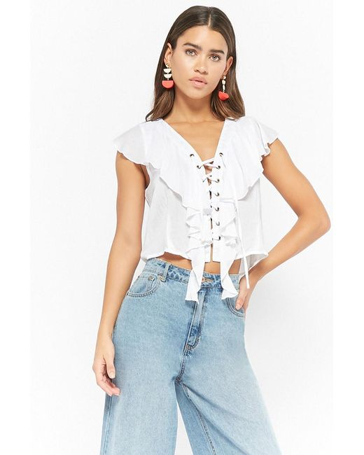1c601eeef8f Forever 21 - White Lace-up Ruffle Top - Lyst ...