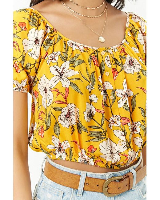 858b4f1d2b7 ... Forever 21 - Yellow Women's Floral Button-front Crop Top - Lyst