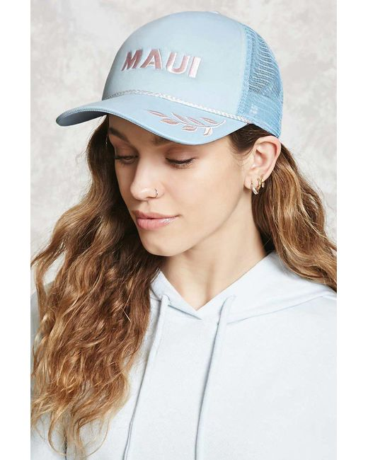 Forever 21 - Blue Maui Embroidered Trucker Hat - Lyst